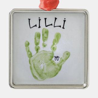 Lilli Hand Square Metal Ornament