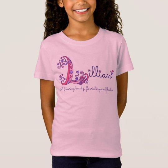 Lillian girls L name meaning monogram kids shirt