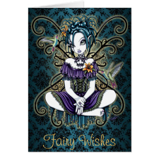 """Lillian"" Gothic Hummingbird Fairy Art Card"