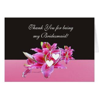 Lillies et carte de note de demoiselle d'honneur d