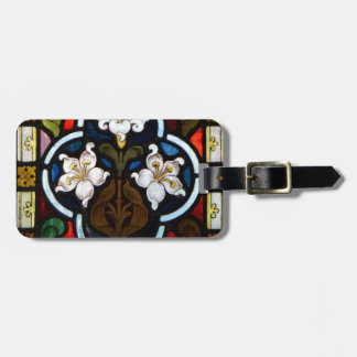 Lillies Stained Glass StColumb Minor Cornwall Luggage Tag