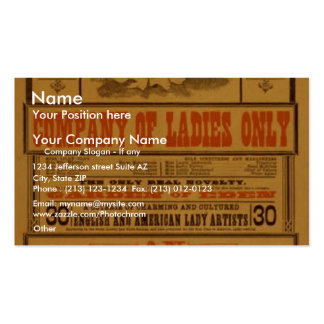 Lilly Clay's, 'Adamless Eden' Vintage Theater Business Cards