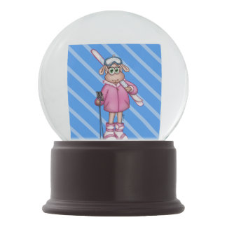 lilly The Sheep Wearing ski gear Snow Globe