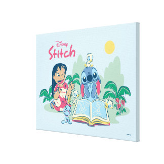 Lilo & Stitch | Reading the Ugly Duckling Canvas Print