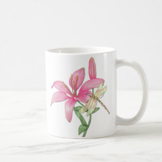 Lily and Dragonfly Coffee Mug