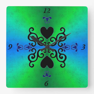Lily and Heart on Rainbow Square Wall Clock