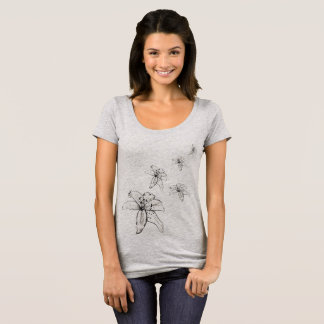 Lily, Black and White Lily Flower Print T-Shirt