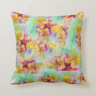 Lily collage throw pillow