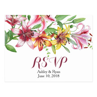 Lily Flower Bouquet Wedding RSVP Postcard