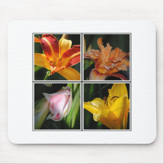 Lily Flower Collage Mousepad