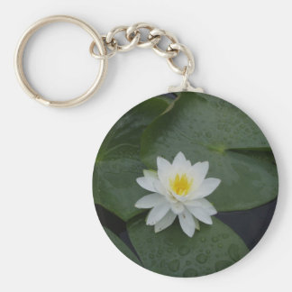 Lily Flower in Lily Pads Keychain