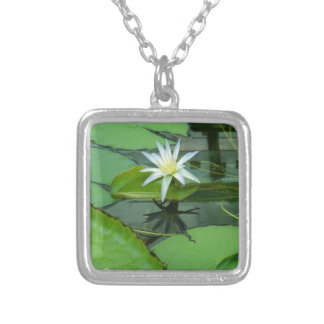 Lily Flower Lotus in Bloom Silver Plated Necklace