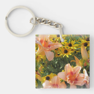 Lily Garden Flower Lover's Double-Sided Square Acrylic Keychain