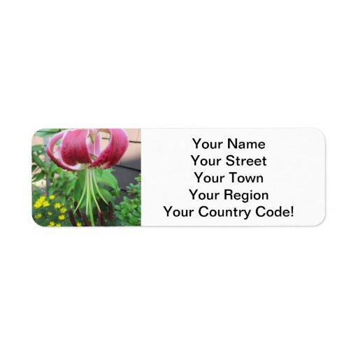Lily Green Maroon Garden Plant Custom Return Address Label