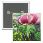 Lily Green Maroon Garden Plant Pinback Button
