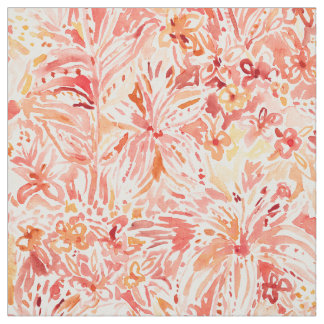 LILY LUST Peach Painterly Floral Fabric