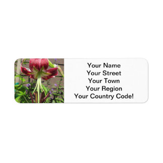 Lily Maroon Green Flower Garden Return Address Label