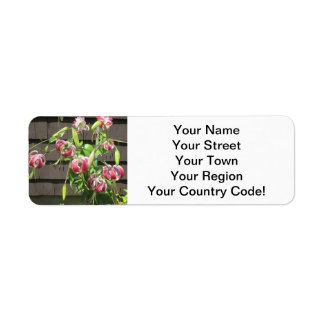 Lily Maroon Green Garden Flower Return Address Label