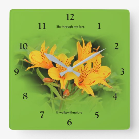 Lily of the Incas / Yellow Alstroemeria Wall Clock
