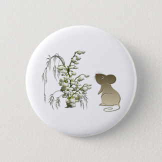 Lily of the Valley and cute mouse art 2 Inch Round Button