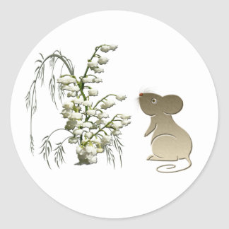 Lily of the Valley and Cute Mouse art Round Sticker