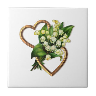 Lily of the Valley and Hearts Ceramic Tiles