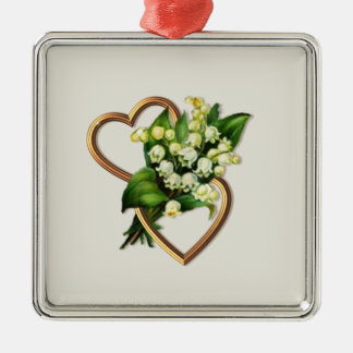 Lily of the Valley and Hearts Silver-Colored Square Ornament