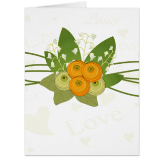 Lily of the Valley and Ranunculus Bouquet Card