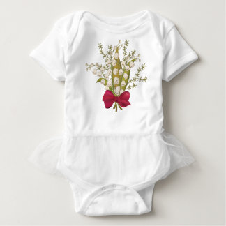 Lily of the valley bouquet with bow baby bodysuit