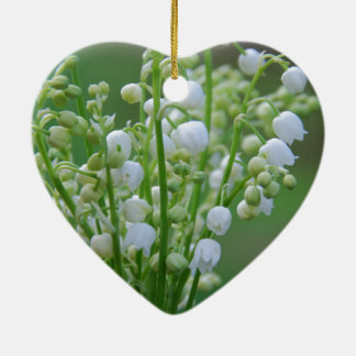 Lily of the valley ceramic heart ornament