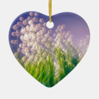 Lily of the Valley Dance in Blue Ceramic Heart Ornament