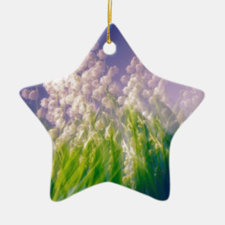Lily of the Valley Dance in Blue Ceramic Star Ornament
