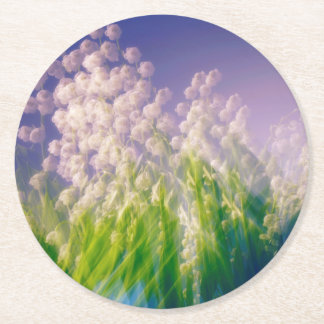 Lily of the Valley Dance in Blue Round Paper Coaster