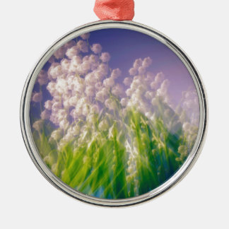 Lily of the Valley Dance in Blue Silver-Colored Round Ornament