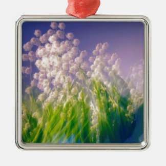 Lily of the Valley Dance in Blue Silver-Colored Square Ornament