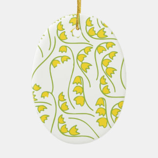 Lily of the Valley Floral Pattern Ceramic Oval Ornament