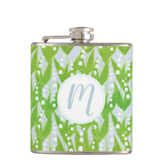 Lily of the Valley Floral Pattern Hip Flask