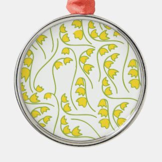 Lily of the Valley Floral Pattern Silver-Colored Round Ornament