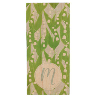Lily of the Valley Floral Pattern Wood USB Flash Drive