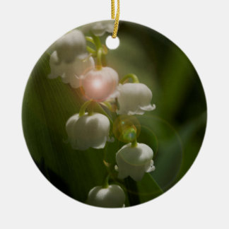 Lily Of The Valley Floral Round Ceramic Ornament