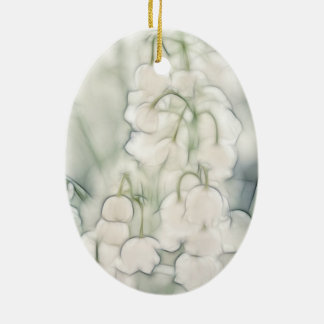 Lily of the Valley Flower Bouquet Ceramic Oval Ornament