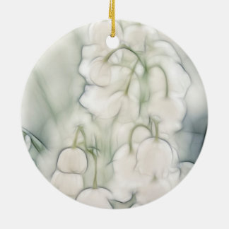 Lily of the Valley Flower Bouquet Round Ceramic Ornament