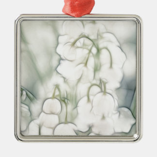 Lily of the Valley Flower Bouquet Silver-Colored Square Ornament