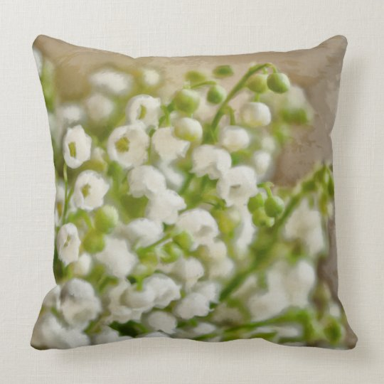 Lily of the Valley Flower Bouquet Sketch Throw Pillow