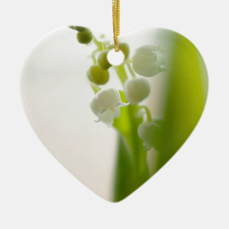 Lily of the Valley Flower Ceramic Heart Ornament