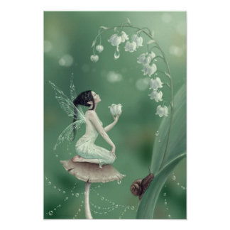 Lily of the Valley Flower Fairy Poster Art Print