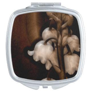 Lily of the Valley Flower in Dark Brown Vanity Mirror