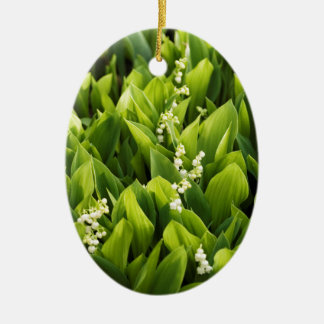 Lily of the Valley Flower Patch Ceramic Oval Ornament