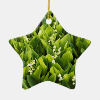 Lily of the Valley Flower Patch Ceramic Star Ornament