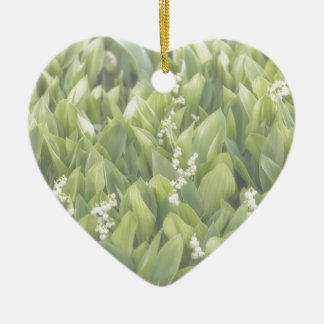 Lily of the Valley Flower Patch in Fog Ceramic Heart Ornament